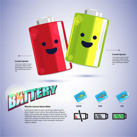 icon phone: cute battery cartoon character design with Battery Indicator Icons for infographic design come with typographic - illustration