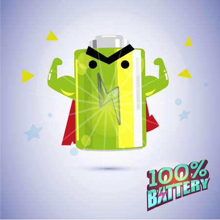 fully: full battery character show strong muscle. Fully charge the battery concept. character design. typographic - vector illustration