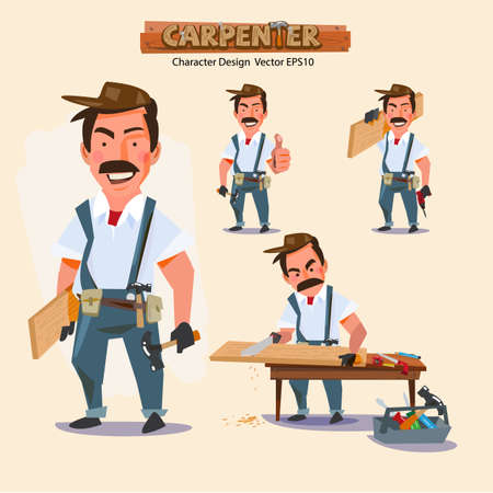 builder: professional carpenter in various action with typographic. careers character design - illustration