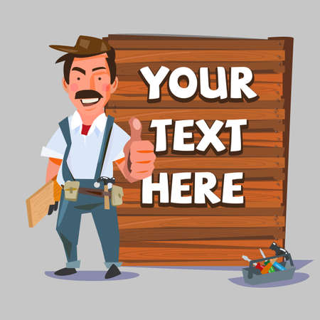 carpenter showing thumbs up with wood wall sign to replace your text. presentation action. Carpentry, construction hardware tools collage with wood plank . character design. - illustration