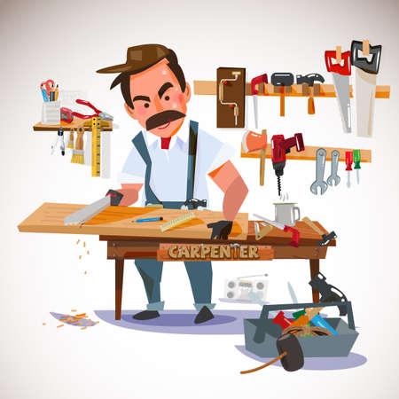 cartoon work: carpenter sawing wood board at the workshop. set of tools. character design - illustration
