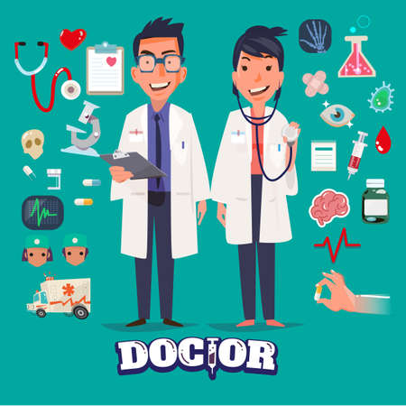doctor isolated: Doctor character man and women design with Medical Icons Set. medicine background with medical, health, healthcare, doctor. Design elements for infographic. typographic - illustration