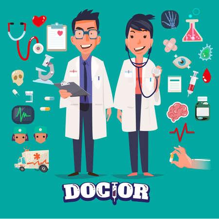 lekarz: Lekarz postaci mężczyzny i kobiety zaprojektować z Medical zestaw ikon. medycyna tle z medycznego, zdrowia, opieki zdrowotnej, lekarz. Elementy konstrukcyjne dla infographic. typograficzny - ilustracja Ilustracja