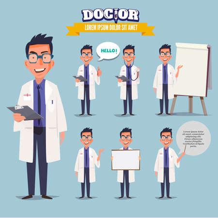 スマート ドクター vaus アクションを提示します。キャラクター デザイン。医師と医療コンセプト - ベクトル図  イラスト・ベクター素材