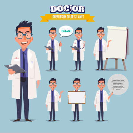 Smart doctor presenting in various action. character design. doctor and healthcare concept - vector illustration