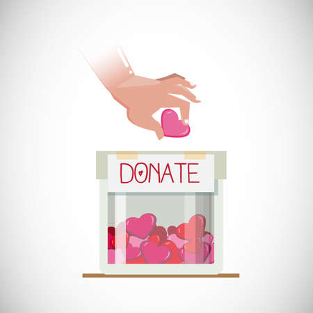 devotion: donate for love. human hand take heart into donate box with full of hearts. love and care concept - vector illustration Illustration