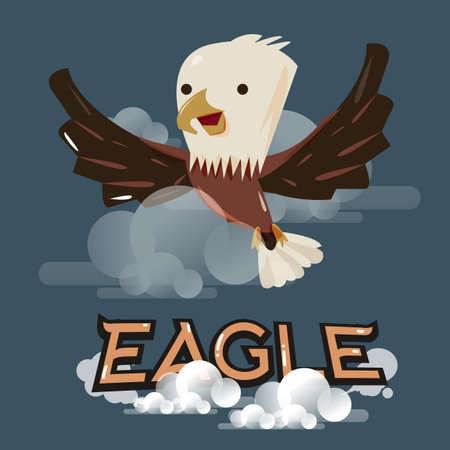 character design: flying eagle in the sky. character design - vector illustration