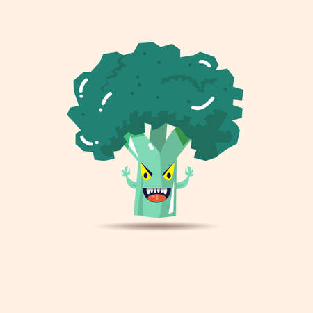 hate: Broccoli vegetable monster character. imagination of people who hate vegetables - vector illustration Illustration