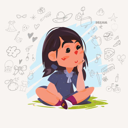 dreaming girl: Cute dreaming girl. Young girl sitting on ground and thinking of her plans with doodle icons. character design - vector illustration