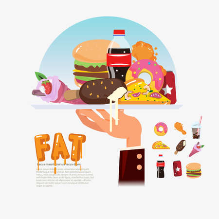 junkfood: fastfood. junkfood in tray with chef hand. food delivery fat food. unhealthy concept - vector illustration