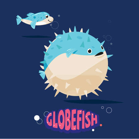 globefish character fill their stomachs with air to make themselves look bigger and less appealing to a predator. before and after body - vector illustration