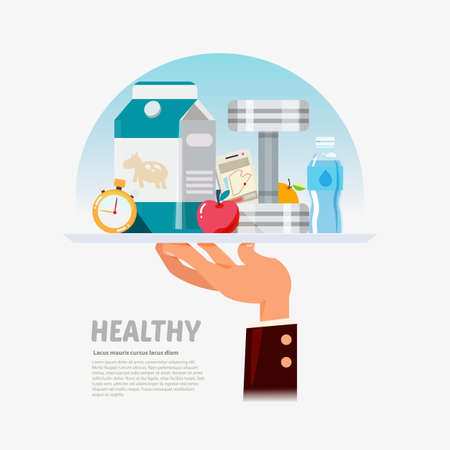 serve: Healthy lifestyle in plate of hand, a healthy diet and daily routine. good food, fruit, sport, fitness concept. Healthy serve and service - vector illustration Illustration
