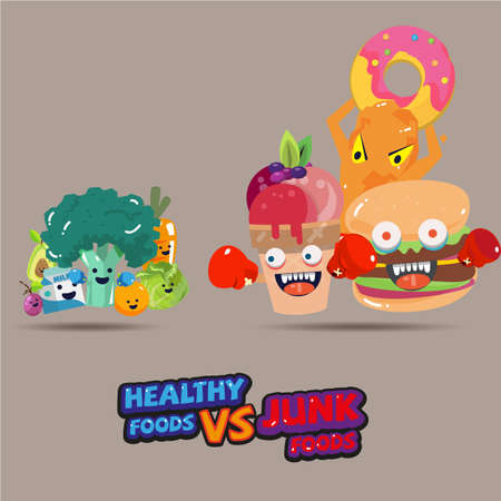 heathy alimentos frente a la comida basura. diseño de personajes elección de un alimento saludable o no. diseño tipográfico. estilo de dibujos animados - ilustración vectorial Ilustración de vector