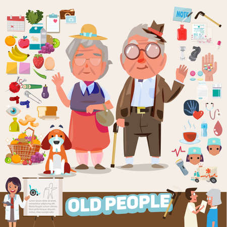 senior exercise: couple of lovely old people with icons set. elements graphic. infographic. character design - vector illustration