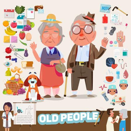 Pareja de ancianos con preciosos iconos conjunto. elementos gráficos. infografía. diseño de personajes - ilustración vectorial