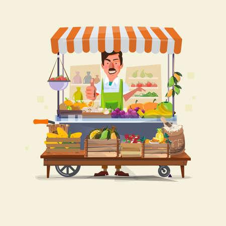 Gemüse und Obst Wagen mit Verkäufer Charakter-Design. Markt Warenkorb gelegt. Grüne Wagen verkaufen nur frisches Obst und Gemüse. Förderung einer gesunden Ernährung Konzept - Vektor-Illustration Vektorgrafik
