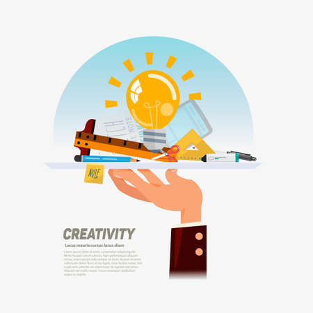 create idea: idea delivery. idea bulb with creative tool set for create idea in tray on hand. creativity, design. Tools and materials. editable - vector illustrator