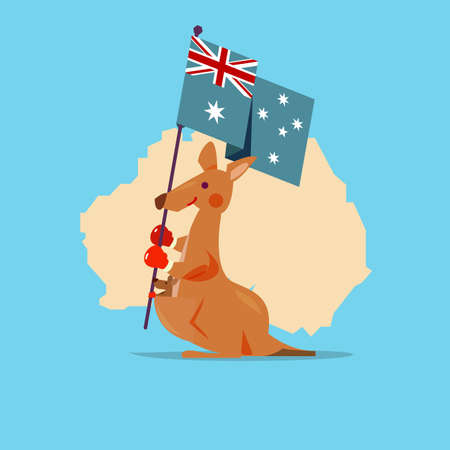 Kangaroo and baby handle Australia flag with map in background. character design. National Animal - concept - vector illustration