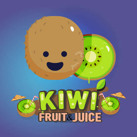 kiwi: Kiwi fruit cute character with typographic design. cartoon sttyle. fruit and vegetable concept - vector illustration