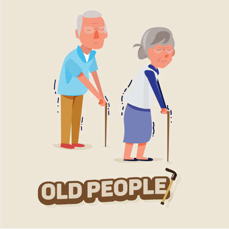 old couple walking: old people man and women walking with stick. character design. elder concept - vector illustration