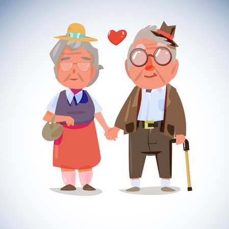 happy mature couple: Old people couple hold hand together - vector illustration