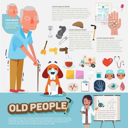 vecchiaia: anziani con icone grafiche impostate. character design - illustrazione vettoriale