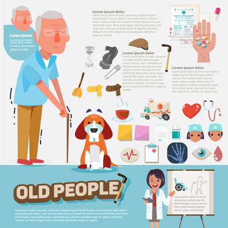old cars: old people with graphic icons set. character design - vector illustration Illustration