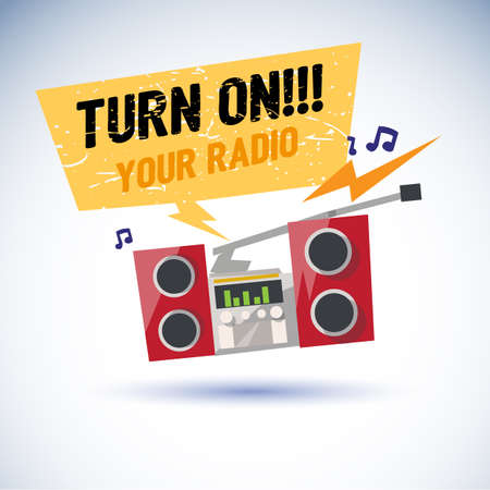replace: Radio playing cool music and jumping with beat. speech bubble with text turn on your radio for replace your text. rock style - vector illustration