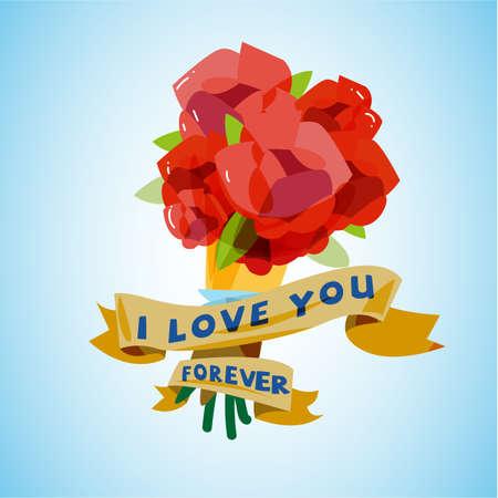 wedding love: rose bouquet with love vintage label. wedding of love - vector illustration Illustration