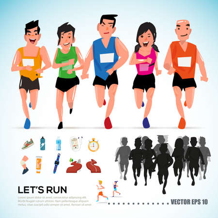 happy runner group with running kit elements and silhouette. character design. info graphic. let's run concept- vector illustration 矢量图像