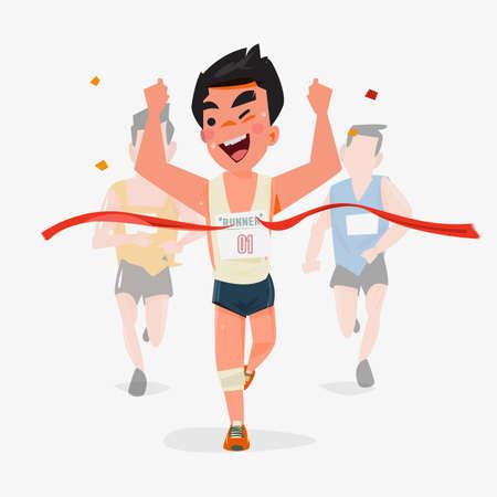correr: diseño de personajes corredor acabado con otra atrás. Concepto ganador Champion - ilustración vectorial Vectores