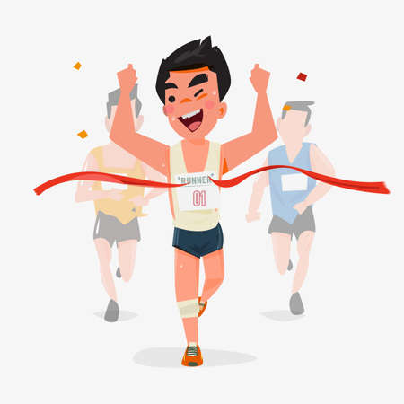finishing line: Finishing runner character design with other behind. Winning Champion concept - vector illustration Illustration