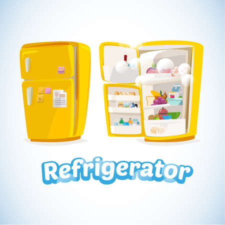 refrigerator: Refrigerator with Full Of Food. Closed and Opened.cute and cartoon style. cool ice typographic design. kitchen concept - Vector Illustration Illustration