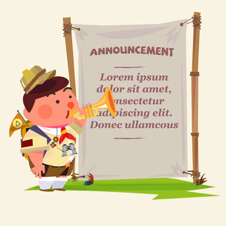announcing: cute trumpeter. scout boy character blowing trumpet to announcing your text in blank fabric. jungle style. camp announcement - vector illustration .promotion marketing concept - vector illustration