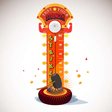 Test je kracht Amusement met het raken van de hamer. sterkte tester. carnaval spel - vector illustratie