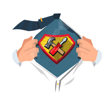 open shirt: man open shirt to show Tools icon in hero style. fix and repair concept - vector illustration Illustration