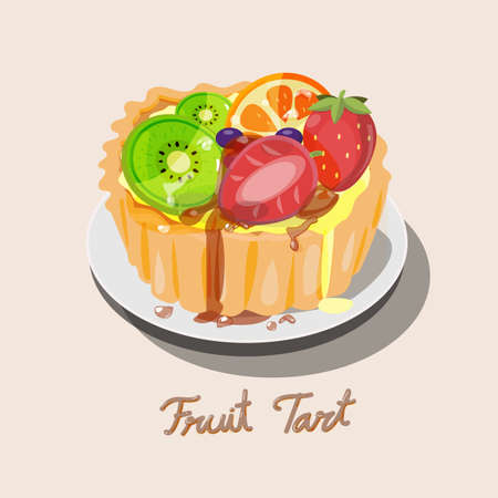 orange tart: Fresh fruit tart with kiwi, blueberry, orange and strawberry with caramel. come with cute caramel typographic design. dessert tarts - vector illustration
