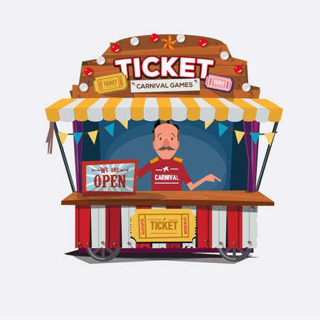 チケット カートやカーニバルのブース。ヴィンテージと売り手 .character デザインでレトロなスタイル。チケット男。売り手ショップ - ベクトル図  イラスト・ベクター素材
