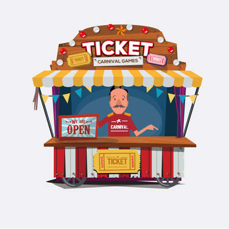 Ticket cart or booth in carnival festival. vintage and retro style with seller .character design. Ticket man. sellers shop - vector illustration 向量圖像