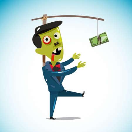 signo pesos: zombi empresario persiguiendo a un dinero que cuelga de un palo. tratando de alcanzar el dinero. trabajando duro para el concepto de dinero. ilustración vectorial