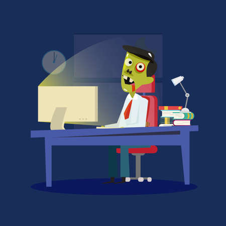 hard working: Man working hard and transform into zombie. Hard Working and unhealthy. zombie office - vector illustration