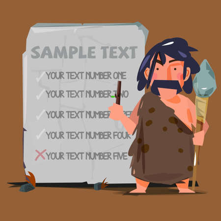 stone tablet: caveman with huge stone to replace your text. stone age concept - vector illustration