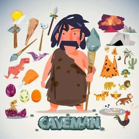 edad de piedra: hombre de las cavernas con la herramienta, arma y elemento. dise�o de personaje. concepto de la Edad de Piedra - ilustraci�n vectorial Vectores