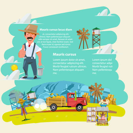 farm landscape: farm truck run across farm scence. farmer guy. Agricultural.  infographic. character design - vector illustration Illustration