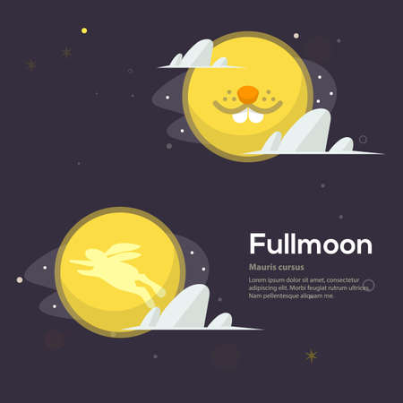 full moon night with rabbit on moon concept - vector illustration Stock Illustratie