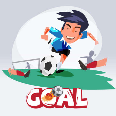 shooting at goal: Soccer man Shooting The Ball To Make A Goal. football. character design - vector illustration