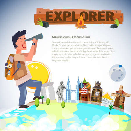 explorer man: adventure man looking with telescope around the world. landmark explorer man  concept - vector illustration