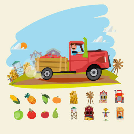 farm truck run across farm scene with set of Agricultural and farm building. fruit and vegetable - vctor illustration