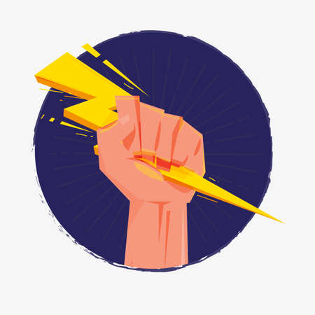 anger abstract: Fist hand holding thunderbolt. Zeus and power concept - vector illustration
