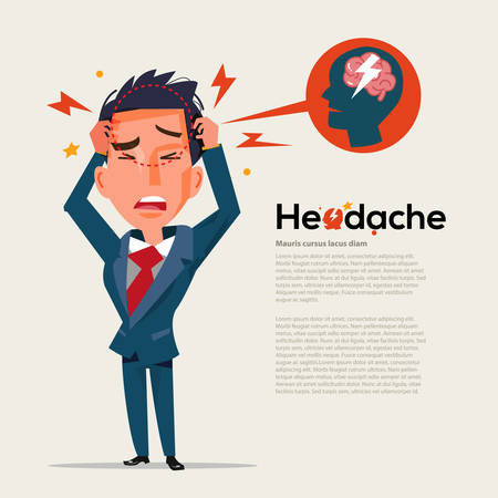 smart man get headache - healthcare and migraine concept - vector illustration Stock Illustratie